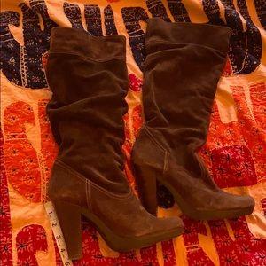 Brown suede Michael Kors high heel boots